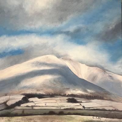 'Shadows across a snowy Blencathra' Print