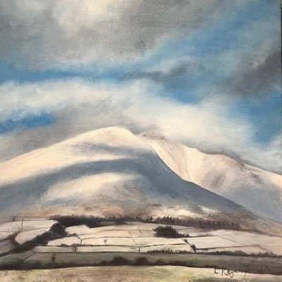'Shadows across a snowy Blencathra' Print